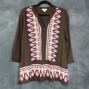 CHARTER CLUB | NWT Brown V-Neck Beaded Tunic Sz L